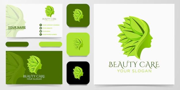 Fronte della donna di cura di bellezza, logo della foglia della natura Vettore Premium