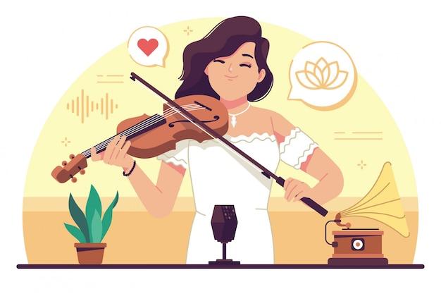 Ragazza di bellezza che gioca violino design piatto illustrazione Vettore Premium