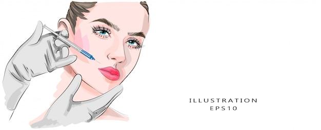Iniezioni di bellezza e cosmetologia estetica. estetista fa un'iniezione di bellezza a una donna. sollevamento e ringiovanimento Vettore Premium