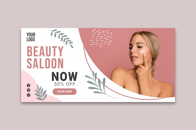 Banner di salone di bellezza Vettore Premium