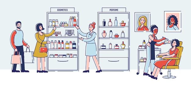 Concetto di negozio di bellezza. un addetto alle vendite sta consultando il cliente su prodotti cosmetici e offerte speciali. Vettore Premium