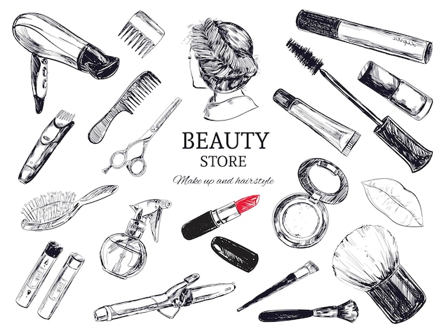 Sfondo di negozio di bellezza con oggetti di parrucchiere Vettore Premium