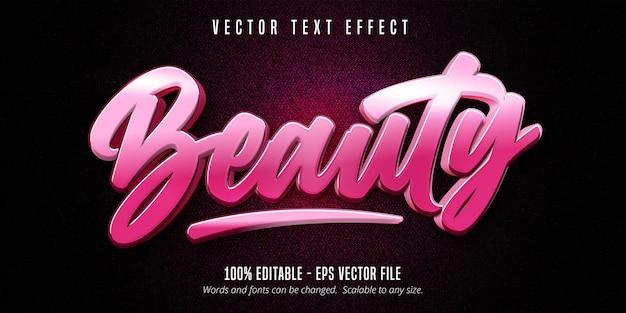 Testo di bellezza, effetto di testo modificabile in stile calligrafia di colore rosa Vettore Premium