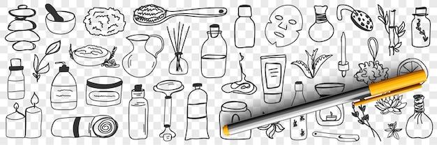 Insieme di doodle di cosmetici e trattamenti di bellezza Vettore Premium