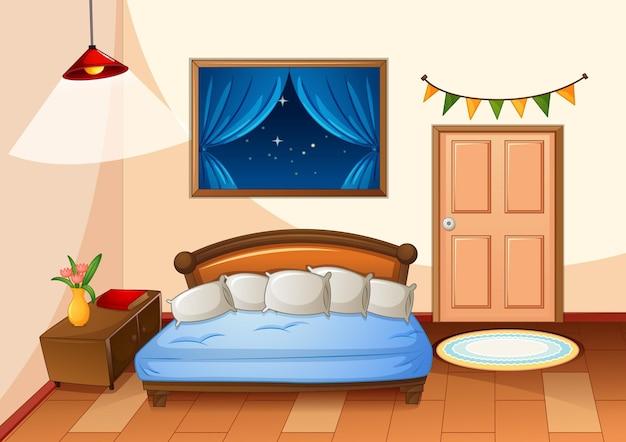 Camera da letto in stile cartone animato di scena notturna Vettore Premium
