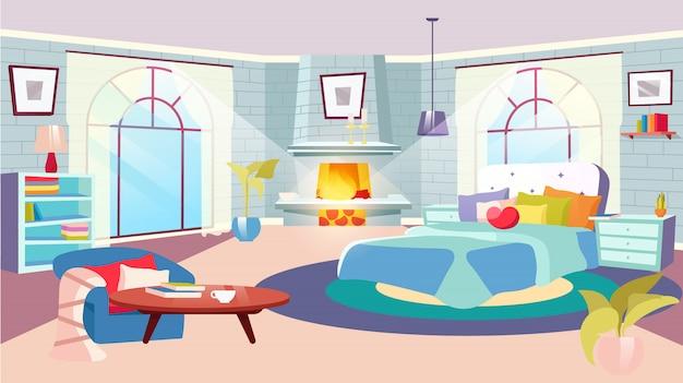 Interno della camera da letto all'illustrazione di giorno. enorme letto con cuscini decorativi, coperta in camera spaziosa. camino, pareti in mattoni stilizzati con scaffali. comodini con piante interne Vettore Premium
