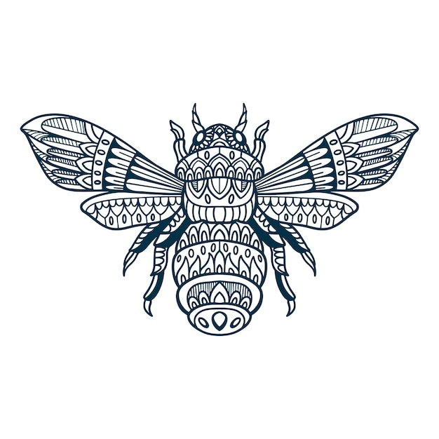 Bee doodle disegnati a mano Vettore Premium