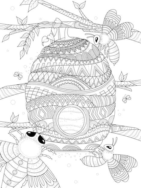 L'ape vola intorno alla pagina da colorare per adulti a nido d'ape Vettore Premium
