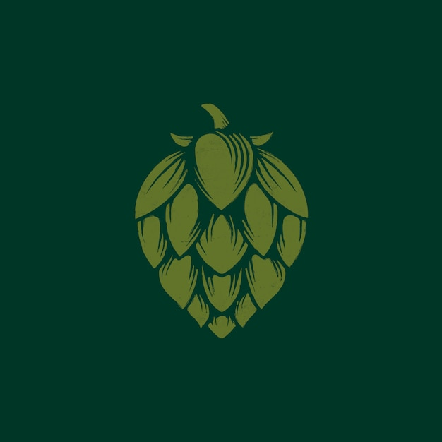 Birra hop logo design organico Vettore Premium