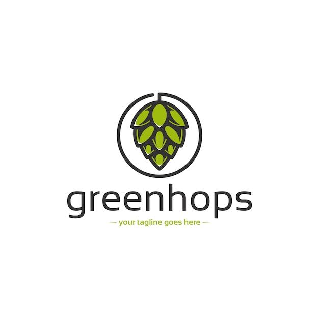 Modello di logo di birra luppolo Vettore Premium