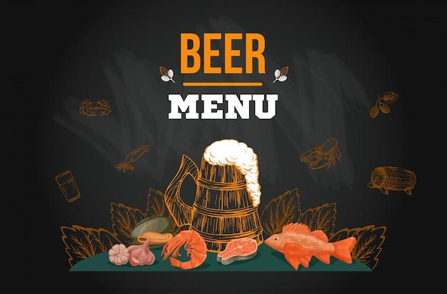 Modello di menu di birra nello stile disegnato a mano di schizzo sulla lavagna Vettore Premium