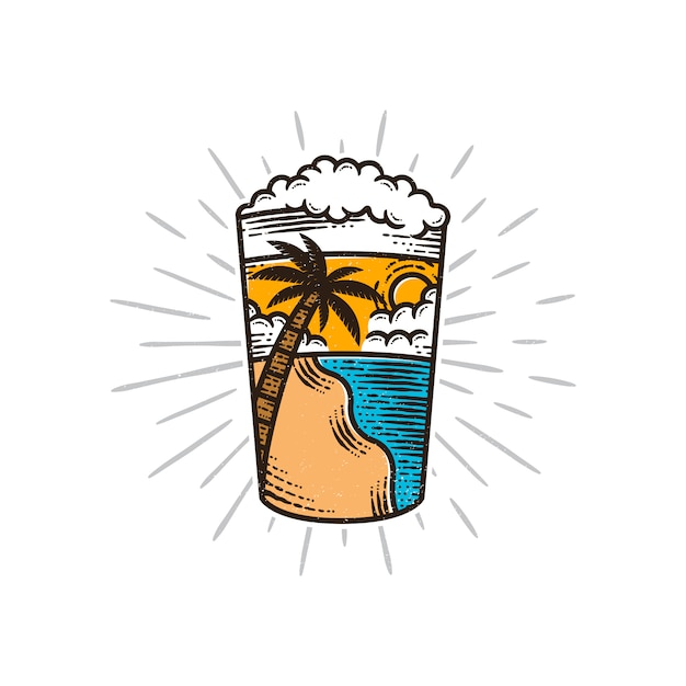 Illustrazione di vibrazioni estive di birra Vettore Premium