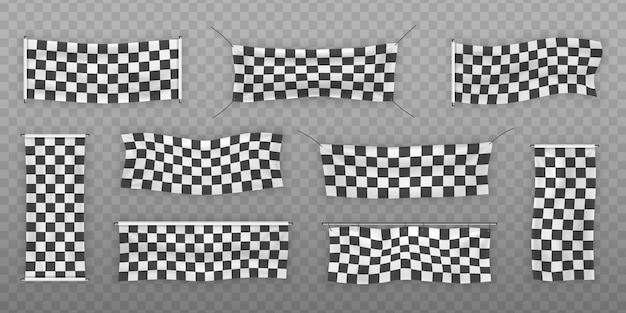 Principianti e striscioni in vinile a scacchi con pieghe Vettore Premium