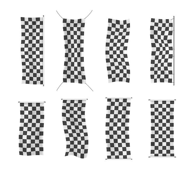 Principianti, striscioni in vinile con finiture e scacchi con pieghe Vettore Premium
