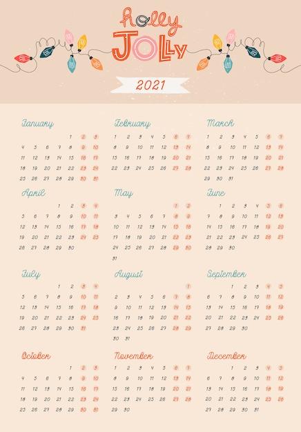 Modello di calendario beige. addobbi e decorazioni natalizie. Vettore Premium