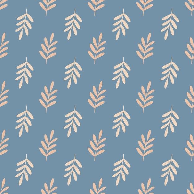 Beige piccolo fogliame rami seamless pattern. ornamento floreale disegnato a mano su sfondo blu. Vettore Premium