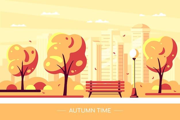 Panchina nel parco cittadino d'autunno. illustrazione del parco cittadino di autunno con albero e grande città sullo sfondo. ciao concetto di autunno in stile piatto. Vettore Premium