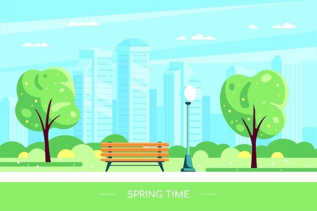 Panchina nel parco cittadino di primavera illustrazione del parco cittadino di primavera con albero in fiore e grande città sullo sfondo. ciao concetto di primavera in stile piatto. Vettore Premium