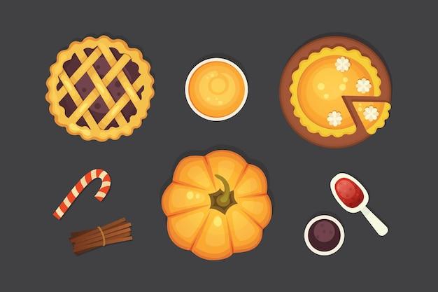 Bacca e torta di zucca icona isolato. illustrazione del giorno del ringraziamento. Vettore Premium