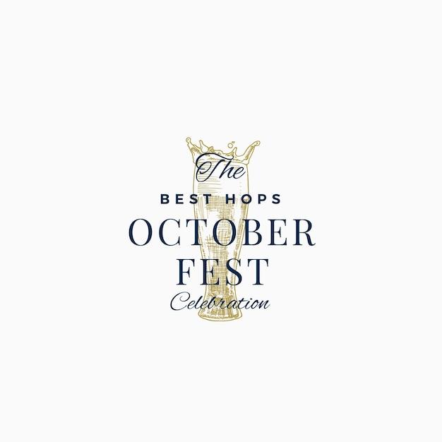 Migliore birra octoberfest celebrazione segno astratto, simbolo o modello di logo. Vettore Premium