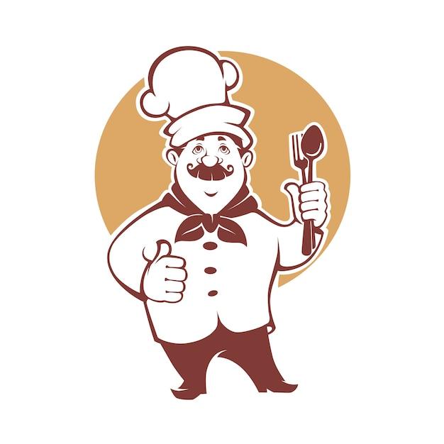 Miglior cibo, chef felice dei cartoni animati, per il tuo logo, emblema, etichetta, segno Vettore Premium