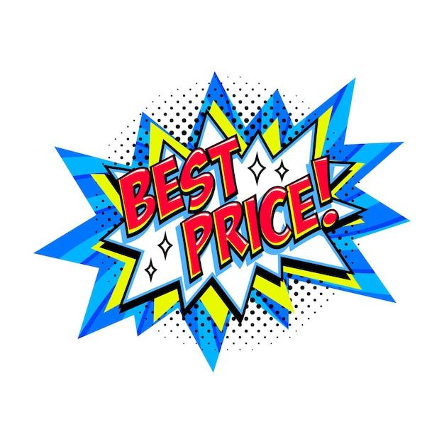 Palloncino scoppio di vendita blu comico miglior prezzo Vettore Premium