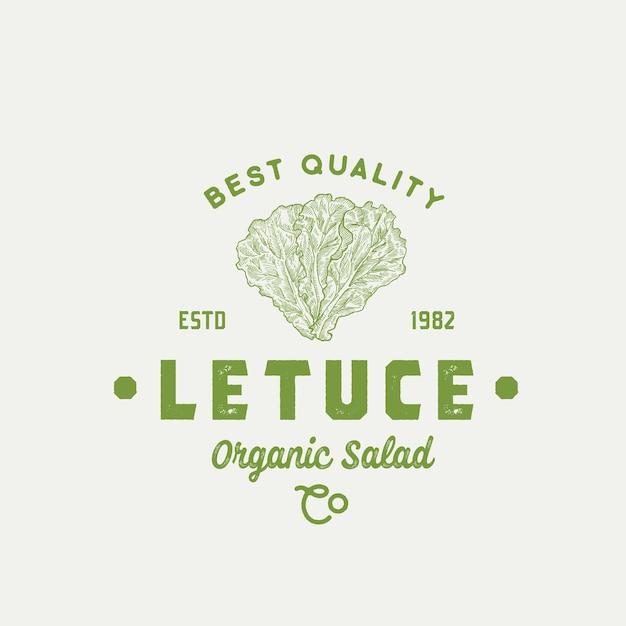 Segno di vettore astratto di qualità migliore lattuga, simbolo o modello di logo Vettore Premium