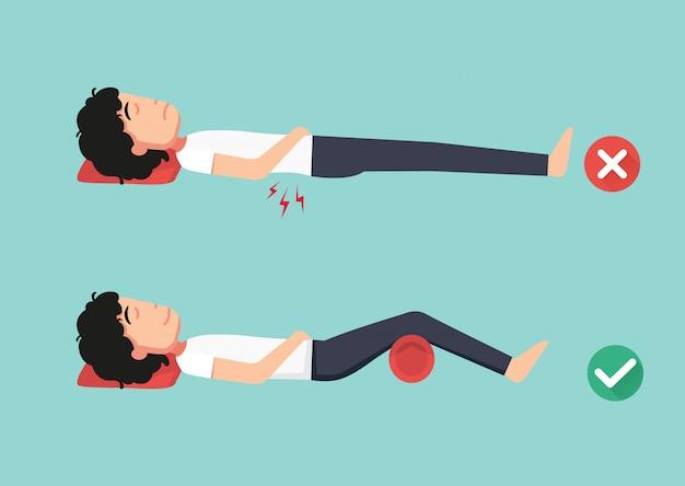 Posizioni migliori e peggiori per dormire, illustrazione Vettore Premium
