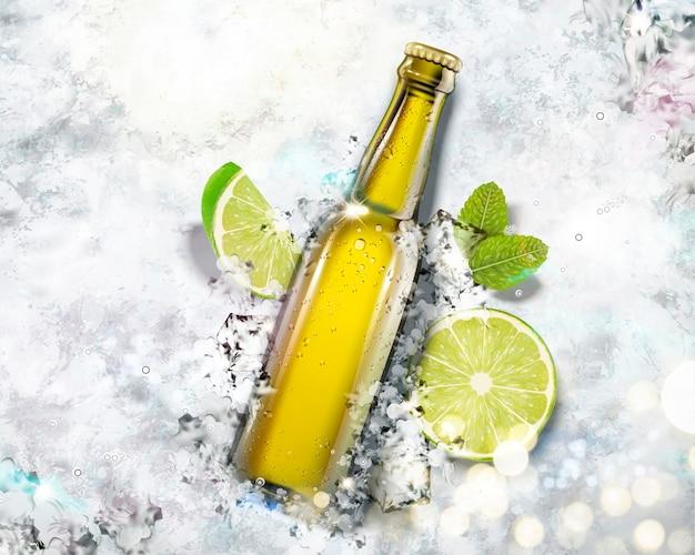 Bevanda in bottiglia di vetro su sfondo di ghiaccio tritato, angolo di vista dall'alto Vettore Premium