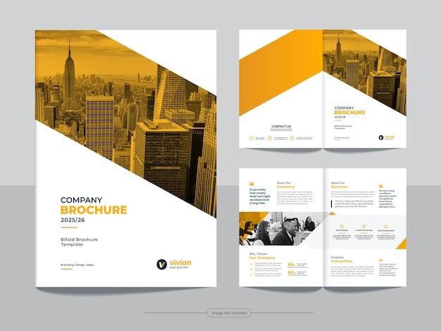 Modello di brochure bi fold per affari aziendali Vettore Premium