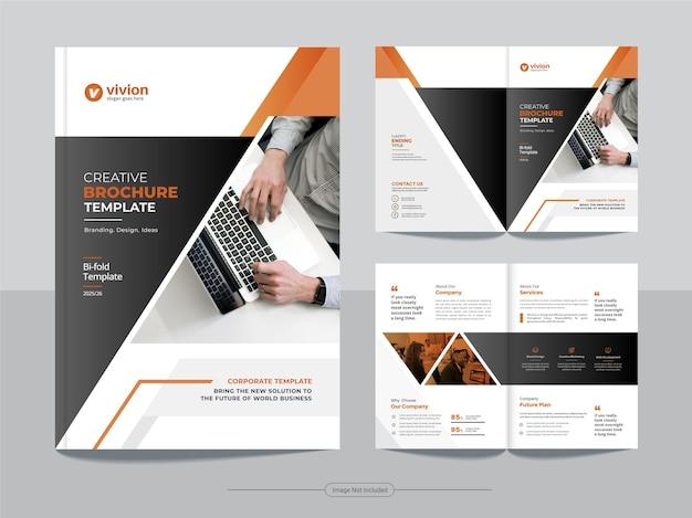Modello di progettazione brochure pieghevole a due per agenzia di affari aziendali Vettore Premium
