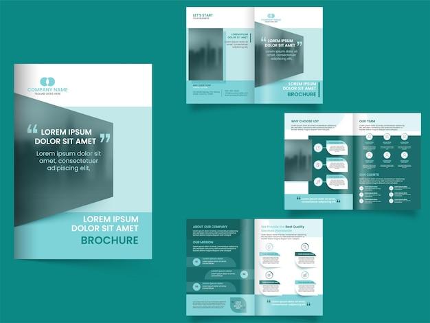 Brochure aziendale ripiegabile, layout del volantino nella vista anteriore e posteriore. Vettore Premium