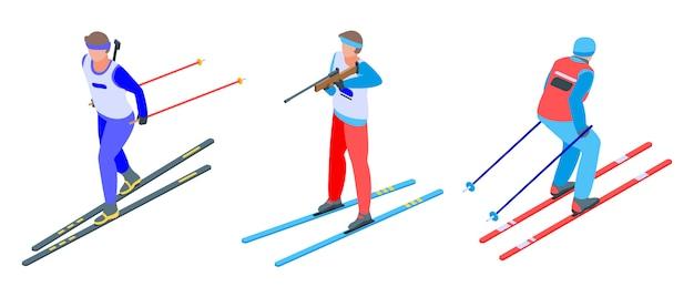 Set di icone di biathlon, stile isometrico Vettore Premium