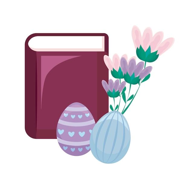 Bibbia con uova di pasqua e fiori Vettore Premium