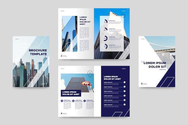 Modello di brochure aziendale bifold Vettore Premium