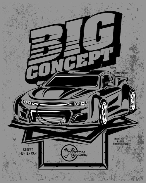 Grande concetto, illustrazione di un'auto con motore personalizzato Vettore Premium