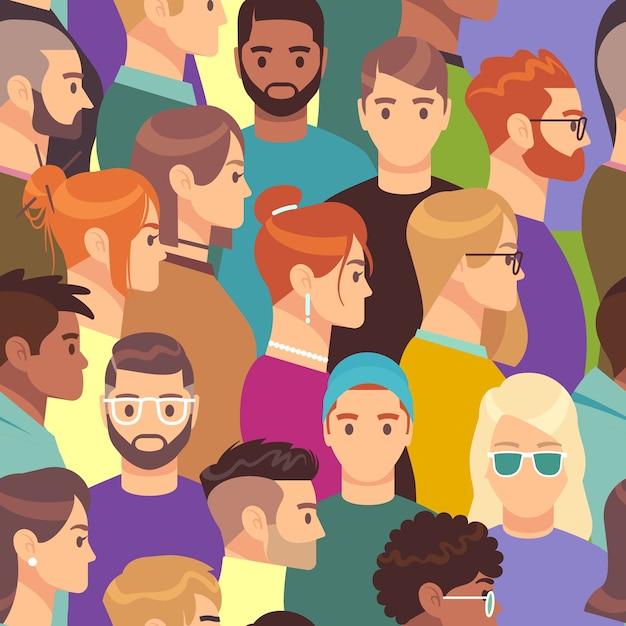 Modello di grande folla. seamless texture di gruppo di persone diverse, maschio e femmina con varie acconciature, concetto di carta da parati avatar ritratto creativo teste di profilo Vettore Premium