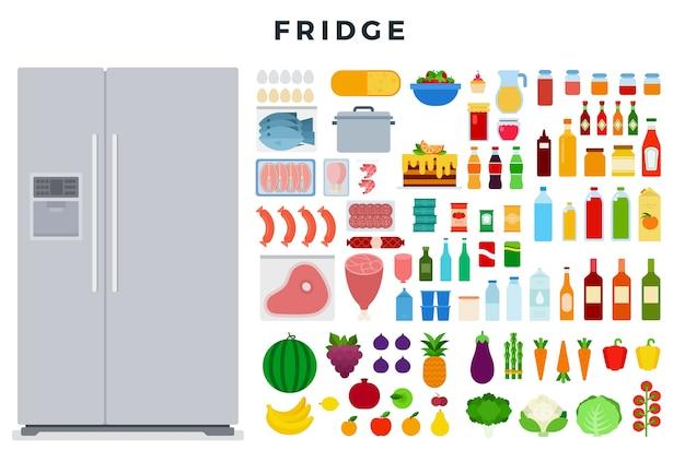Grande frigorifero chiuso moderno e set di vari alimenti Vettore Premium