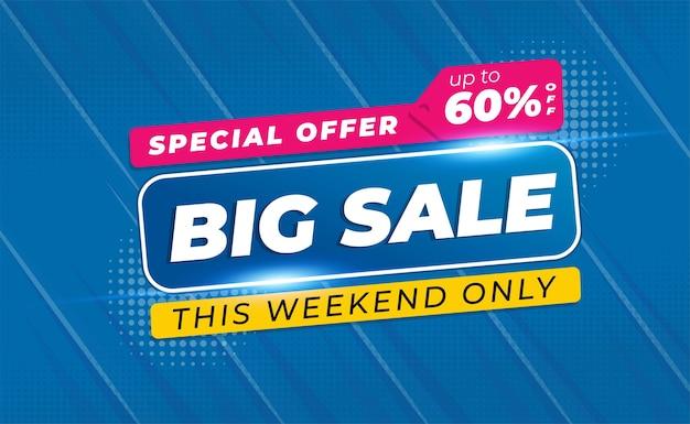 Grande vendita banner o poster con colore blu Vettore Premium