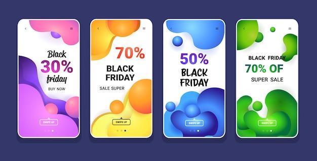 Grande vendita venerdì nero collezione di colori liquidi offerta speciale promo marketing shopping natalizio Vettore Premium