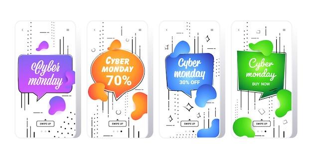 Grande vendita cyber lunedì collezione di adesivi a colori liquidi offerta speciale concetto di shopping natalizio schermi di smartphone impostati banner gradiente fluido app mobile online Vettore Premium
