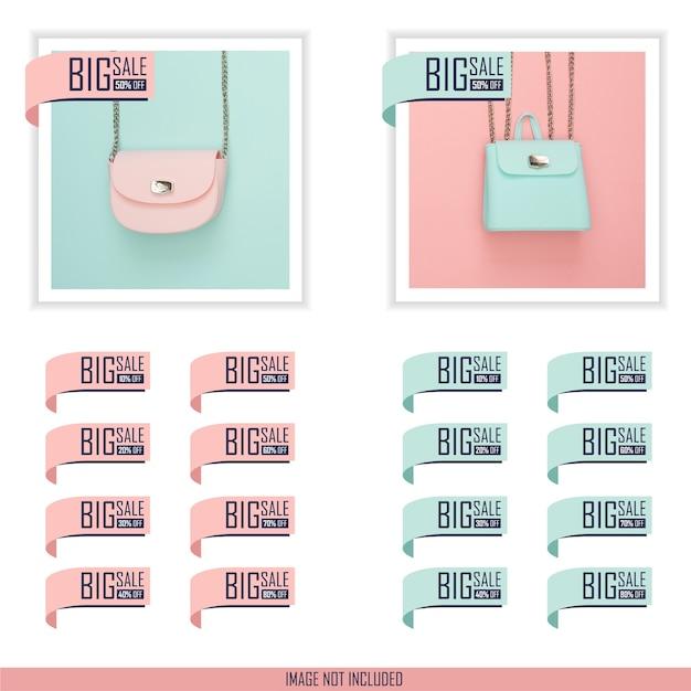 Collezione di design piatto etichetta grande sconto vendita impostata in colore pastello blu e rosa Vettore Premium