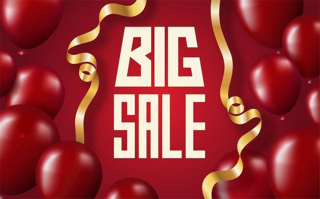 Banner di vendita grande scritta su sfondo rosso con mongolfiere scarlatto e nastri curvi dorati Vettore Premium