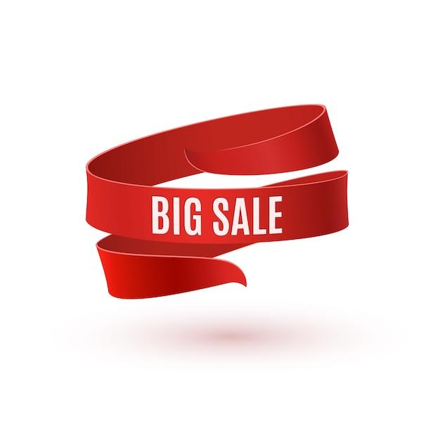 Grande vendita. nastro rosso su sfondo bianco. Vettore Premium
