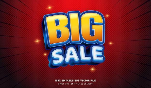 Grande vendita testo effetto font editabili ottimo per le vendite Vettore Premium