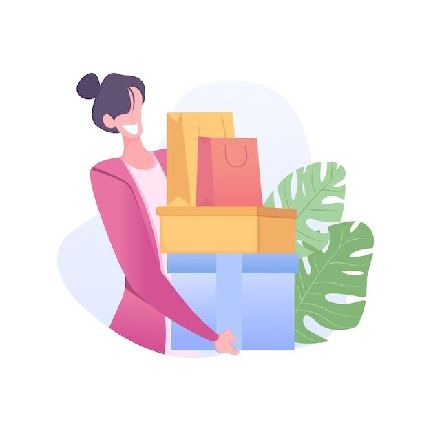 Grande vendita con scatole di contenimento della ragazza Vettore Premium