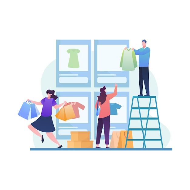 Grande vendita con persone alla ricerca di nuovi articoli di tendenza nel negozio di dispositivi mobili Vettore Premium