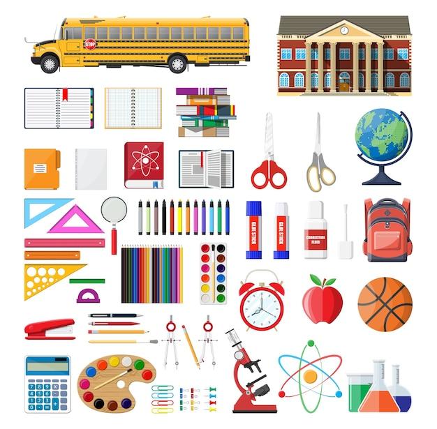 Grande set scolastico. materiale scolastico diverso, cancelleria. Vettore Premium