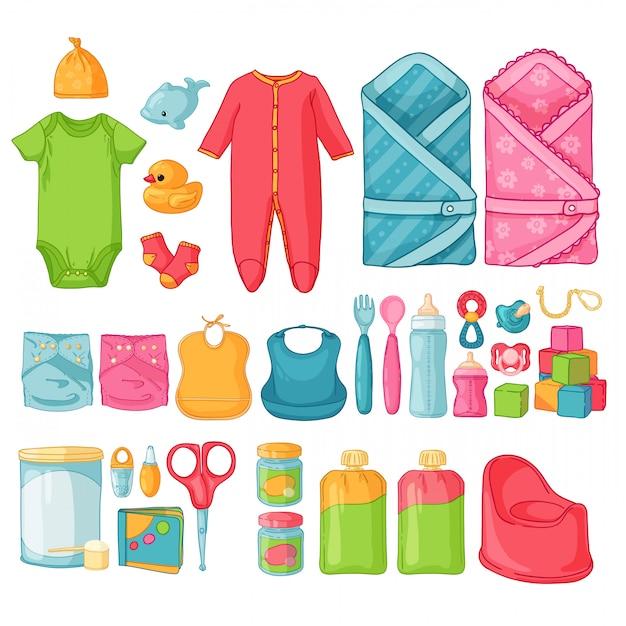 Grandi cose per bambini. insieme di cose per l'infanzia. icone isolate di prodotti per bambini per neonati. abbigliamento, giocattoli, accessori per l'igiene, cibo per neonati. Vettore Premium