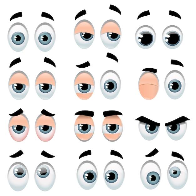 Grande set di occhi dei cartoni animati che rappresentano varie espressioni Vettore Premium